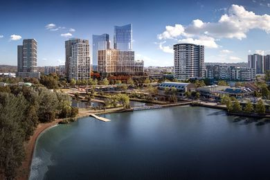 The view of Fender Katsalidis Architects' Republic – set to become Canberra's tallest building – from Lake Ginninderra.