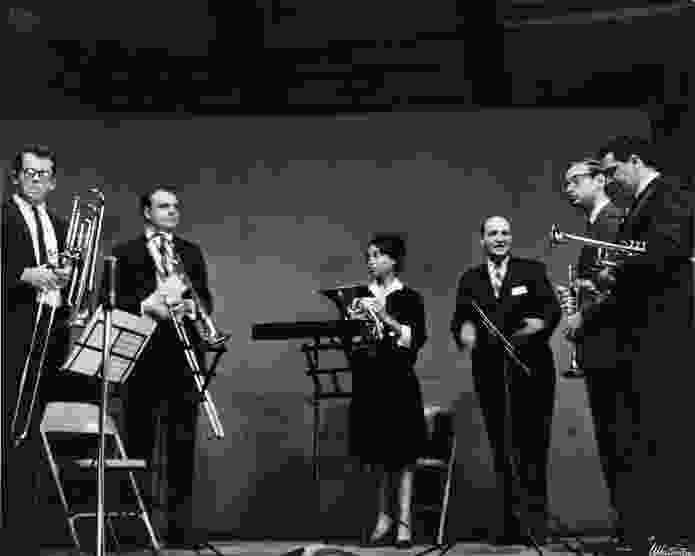 Performing at Tanglewood with a brass quintet in 1963.