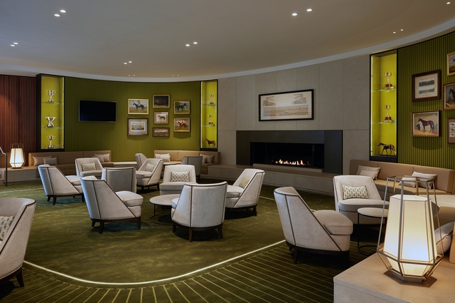 A lounge in the Victorian Racing Club's new club stand by Bates Smart.