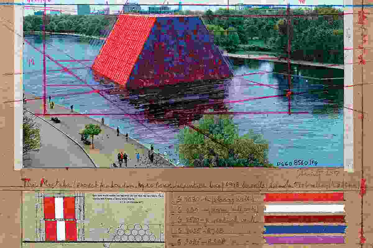 Christo's collage (2017) for The London Mastaba.