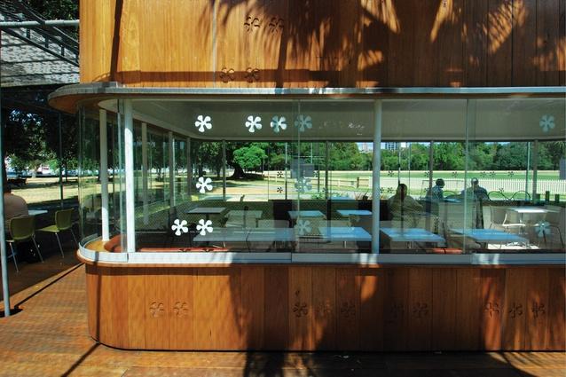 Windows on three sides of the kiosk enable  cross-ventilation.