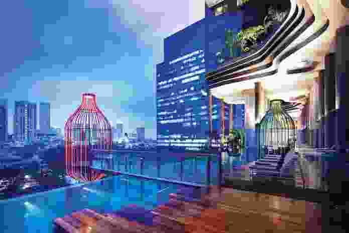 "A lantern pavilion, or ""birdcage,"" is cantilevered over the pool on level five."