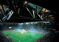 Night-time view of the dramatic yet intimate stadium.