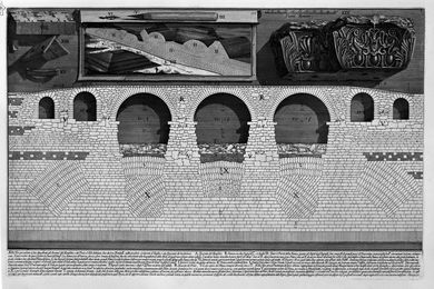 Cutaway view of the Mausoleum of Hadrian and the Elio Bridge St. Angel (The Roman Antiquities, Book 4, Plate VIII, 1756).
