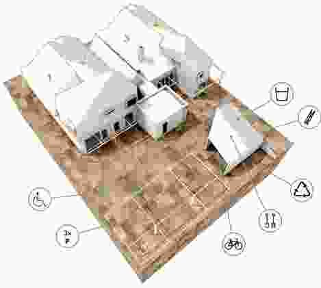 Established Manors strategy model, viewed from the rear: two existing bungalows are divided into four new dwellings of varied size and layout. A new infill element between the two houses combines with one half of one bungalow to create a larger, two-bedroom accessible dwelling.