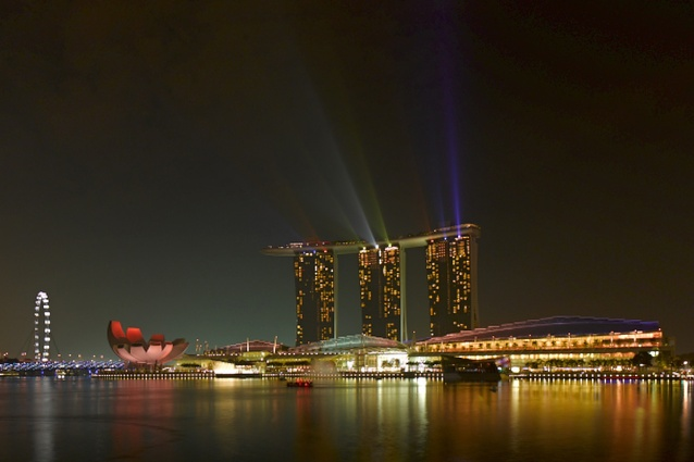 WAF 2013 venue, Marina Bay Sands putting on a light show.