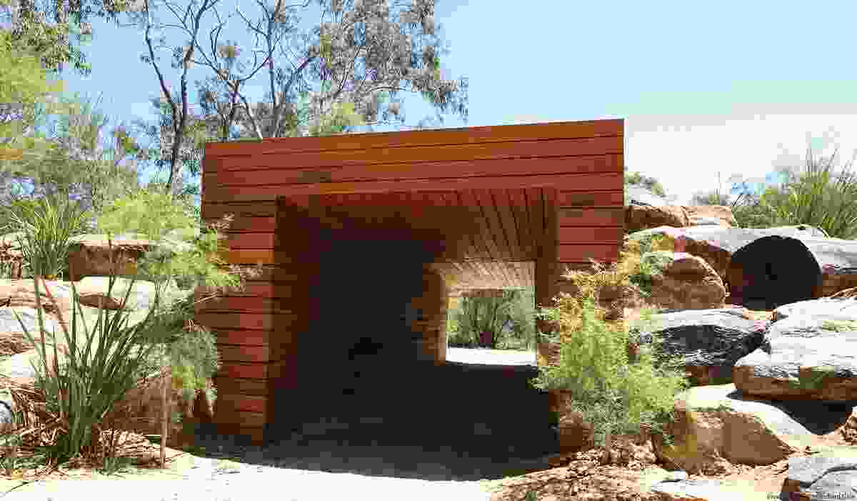 The timber tunnel provides a bold architectural element.