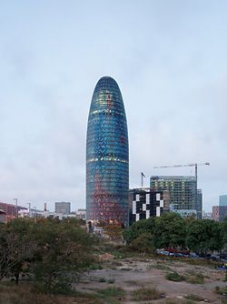 Agbar_000309 (21/10/08, 6:22 pm). Photograph of Torre Agbar by Ateliers Jean Nouvel.