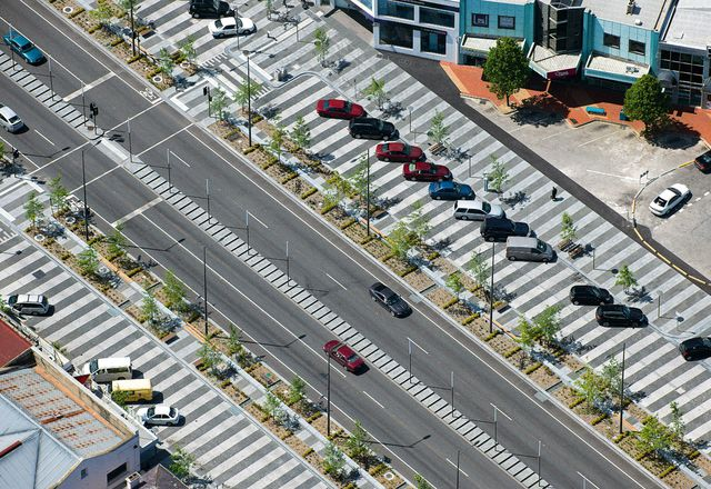 Aerial view of Londscale Street in Central Dandenong. Streetscaping by Taylor Cullity Lethlean and BKK Architects.