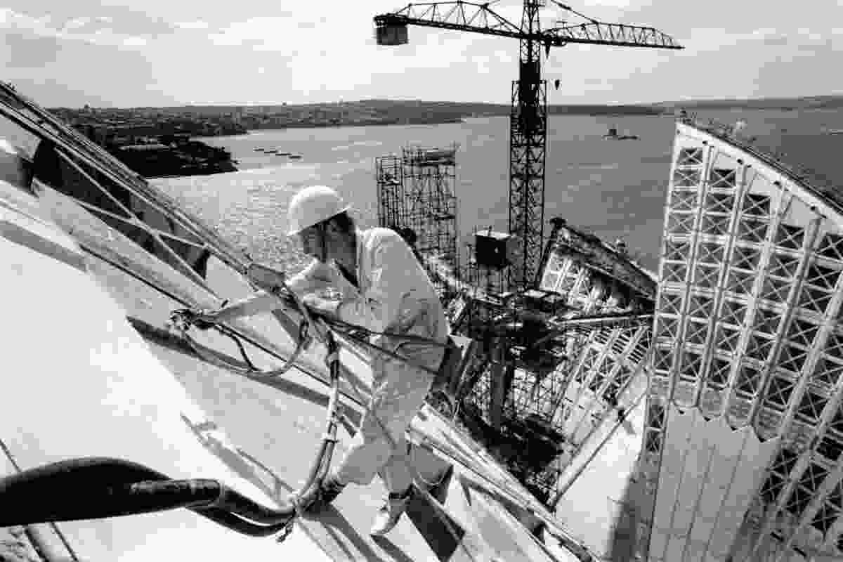 Sealing roof joints on the Sydney Opera House, 1966.