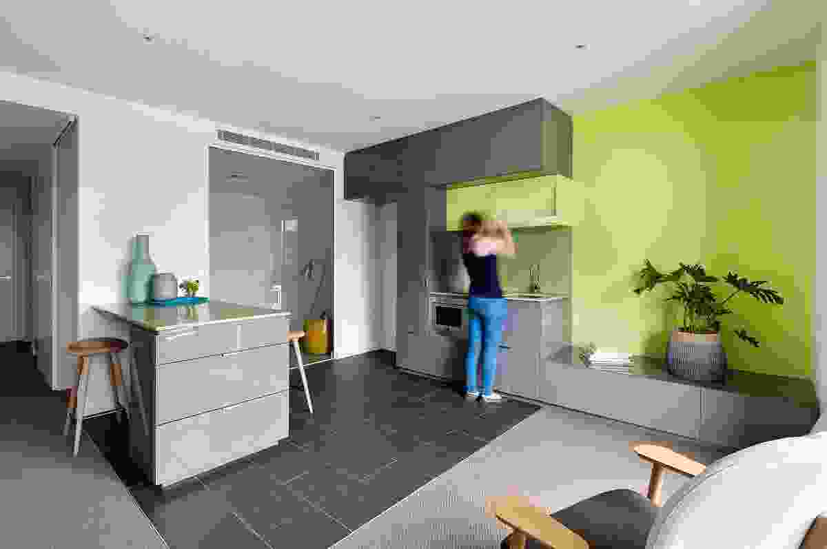 The apartments come in six colour schemes, either dark or light with an optional green or orange accent.