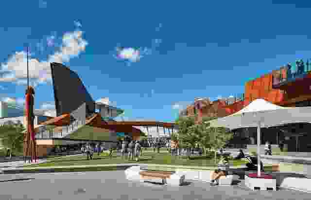 广场表现为一个复杂的构造地形,开放的草坪和参差不齐的建筑形式,点缀着瞭望台、坡道和楼梯。