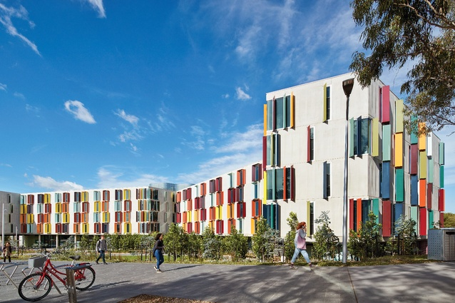 The five-storey Turner Hall by Jackson Clements Burrows Architects hosts 250 residents in its undulating form, which curves around a recreational landscape.