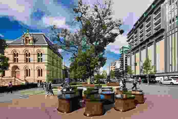 Public artwork by Hossien and Angela Valamanesh, North Terrace, Adelaide.