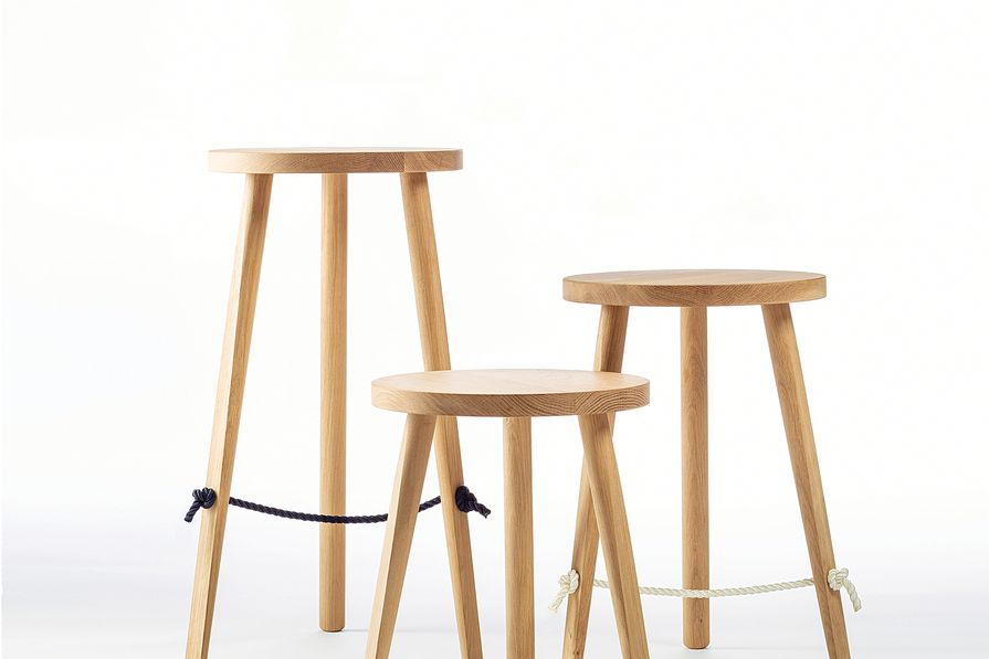 The double-braided polyester footrest of the Mariner stools hints at a nautical inspiration.