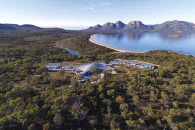 Aerial view of the Saffire Freycinet resort, looking across Coles Bay to the Hazards.