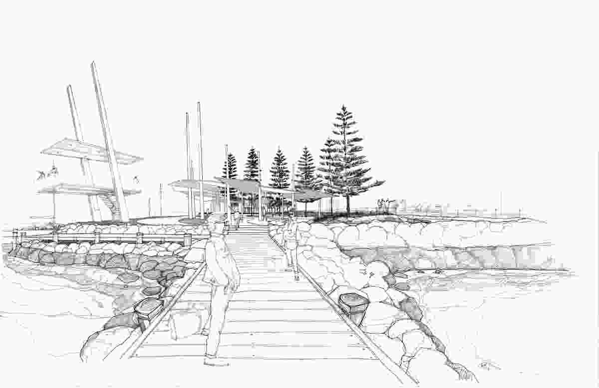 Concept sketch of Geraldton Esplanade.
