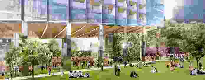 The ground plane of 447 Collins Street by SHoP Architects and Woods Bagot includes a tree grove, a promenade and an amphitheatre.