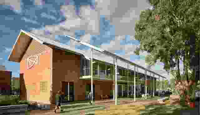 这幅新作品清晰地展现在60年代红砖建筑的侧面。活动屋顶和柱廊鼓励占用外部空间。