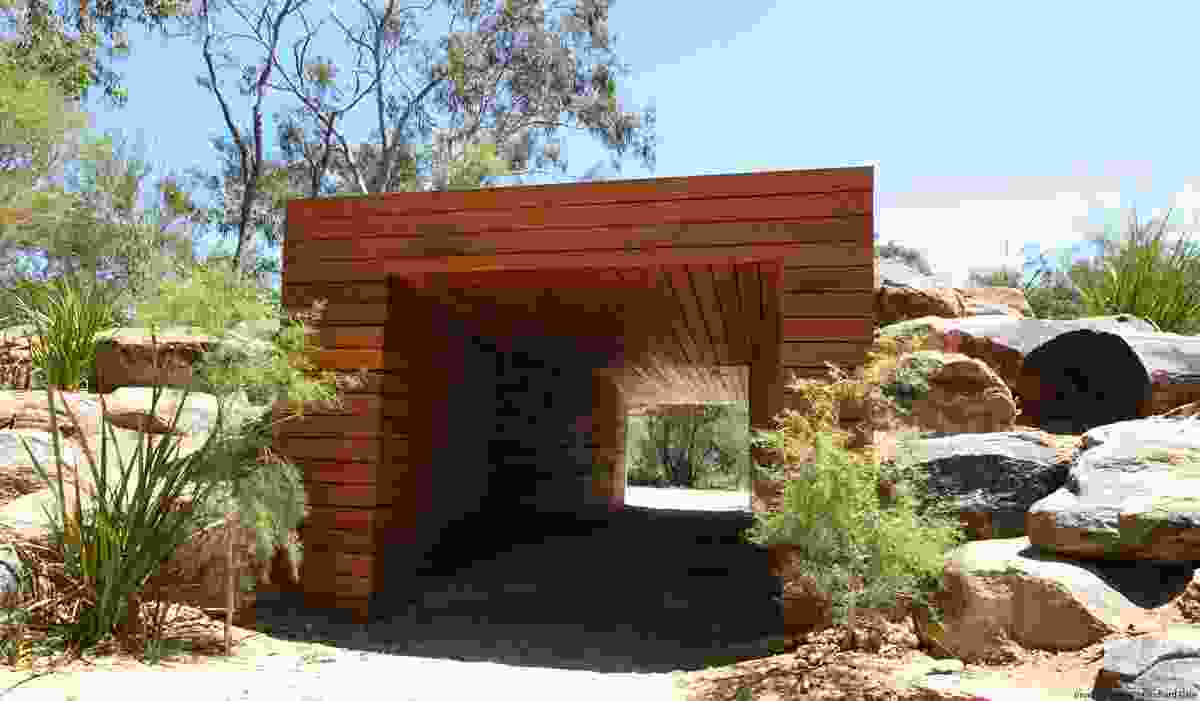 The tunnel uses natural materials that reflect the kings park natural material palette while providing a bold built form element.