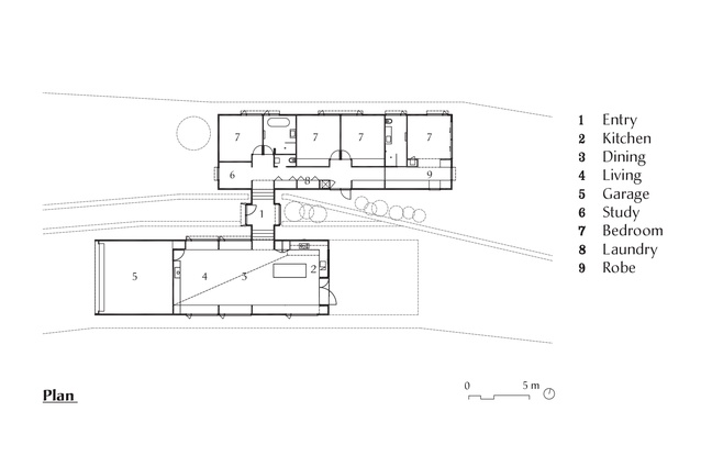 Plan of Two Halves House by Moloney Architects.