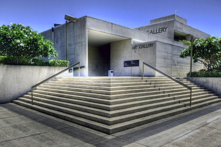 Robin Gibson's Queensland Art Gallery, one of several building's within the Cultural Precinct in an unusual, tropically-inflected brutalist style.