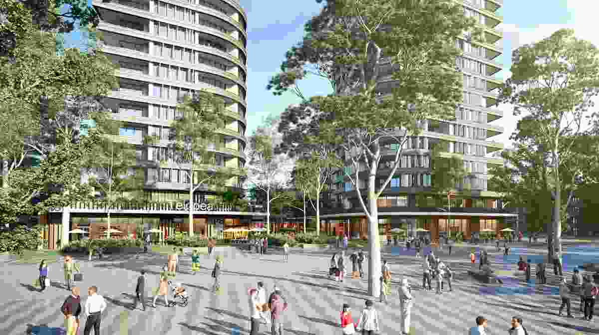 A plaza in the proposed masterplan for Telopea led by Urbis.