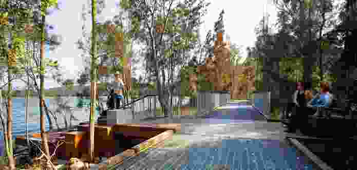 Aspect Studios' upgrade and enhancement of the Narrabeen Lagoon trail in Sydney facilitates access to the lake through a recreational circuit of lookouts and seating areas.