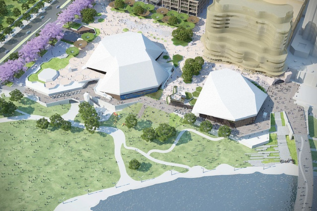 Proposed view of the promenade in the  Adelaide Festival Plaza redevelopment designed by ARM Architecture and Taylor Cullity Lethlean.