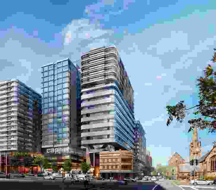 The proposed mix-use development by Foster and Partners looms over the heritage listed Australian Hotel.