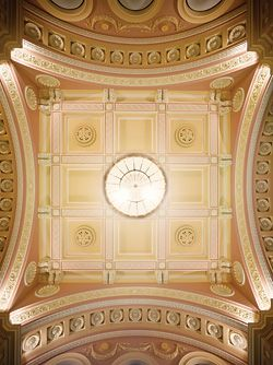 The ceiling of Court 4 in the Supreme Court of Victoria. Upgrade by Billard Leece, directing the Lovell Chen heritage plan.