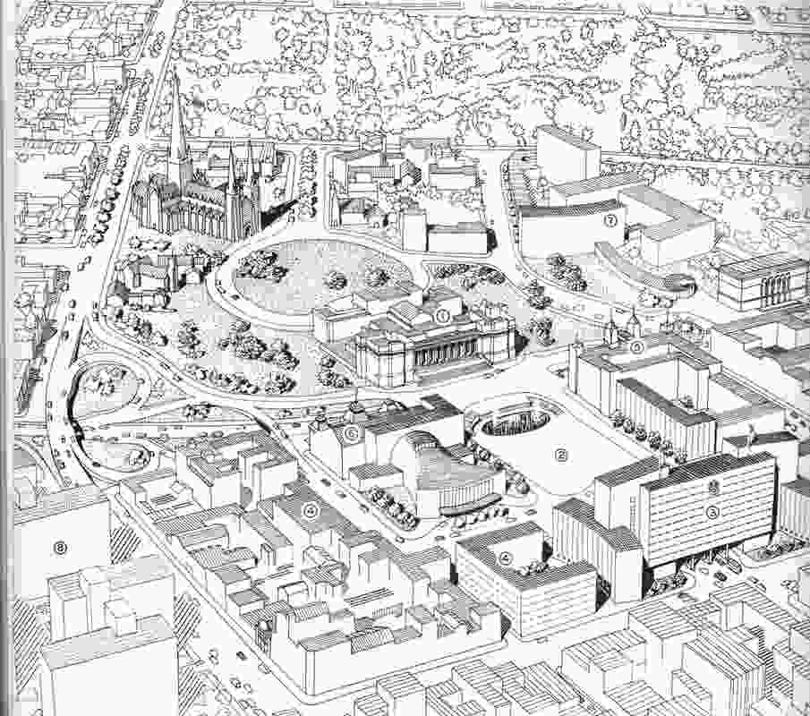 The 1954 Melbourne Plan proposed a civic square, but the idea came to nothing. Melbourne.