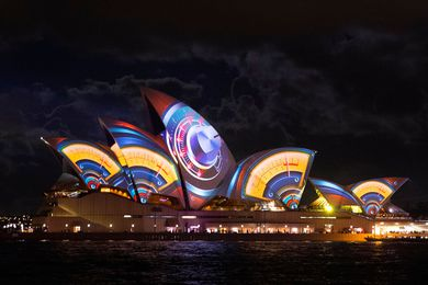 2013 lighting projections on the sails of the Sydney Opera House.