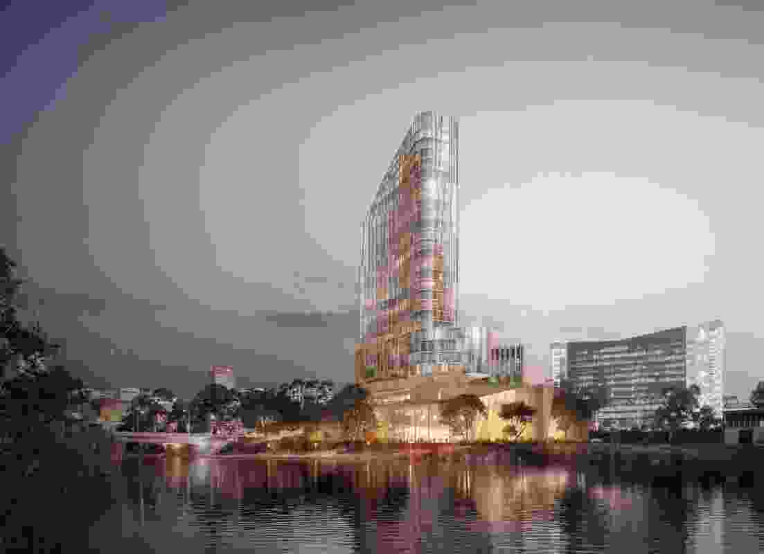 The proposed riverbank hotel by Enzo Caroscio Architecture and Design.