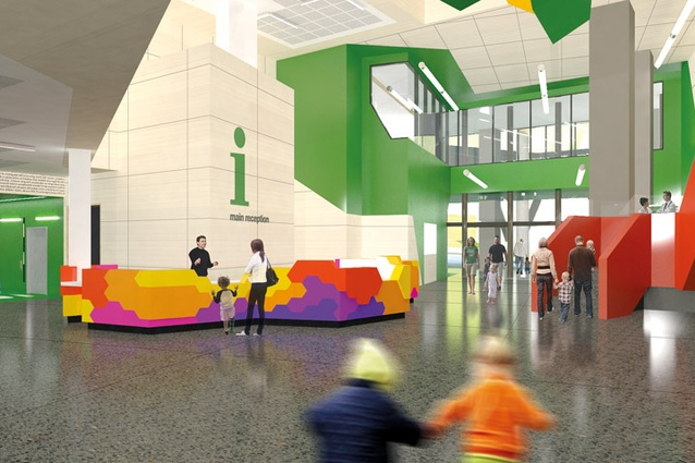 A render of the Queensland Children's Hospital reception area.