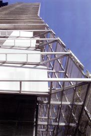The north-west corner of Liberty Tower, with the framework for the perforated aluminium screens wrapping around the north face.