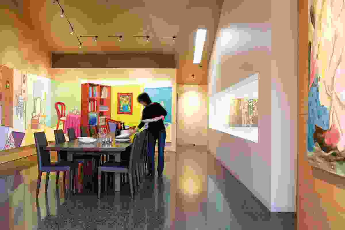The dining room or boardroom, lined with Howard Arkley, Fabricated Rooms, 1998.