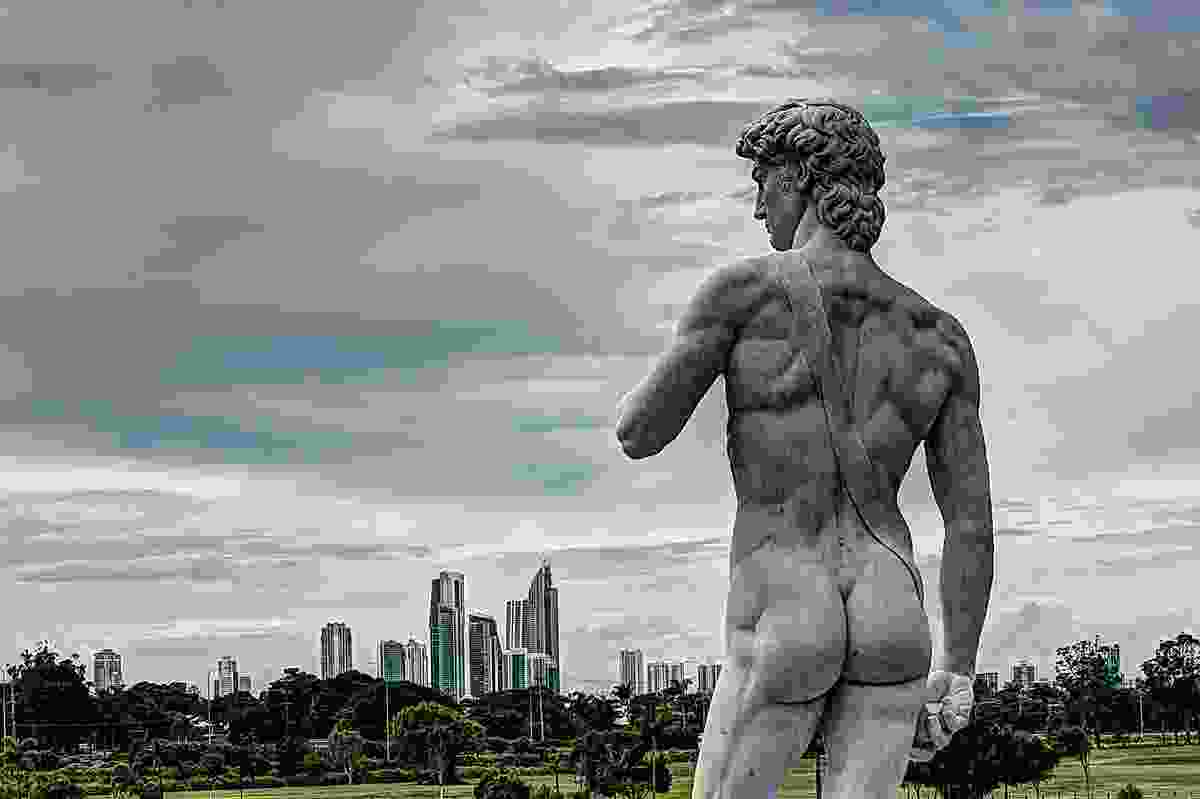 A replica of Michelangelo's David keeps watch over the Gold Coast from The French Quarter of Emerald Lakes.