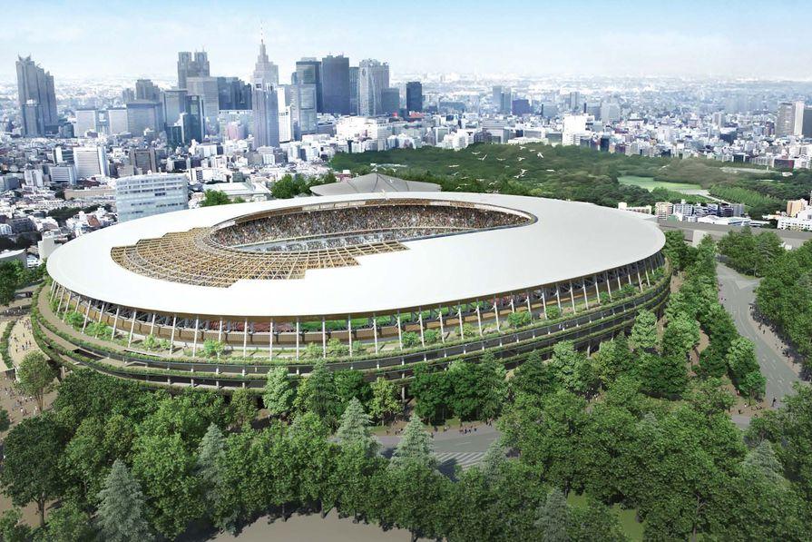 Kengo Kuma's winning design for Tokyo Olympic Stadium.