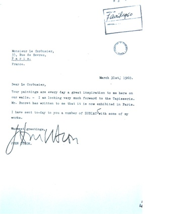 A letter from Jørn Utzon to Le Corbusier.