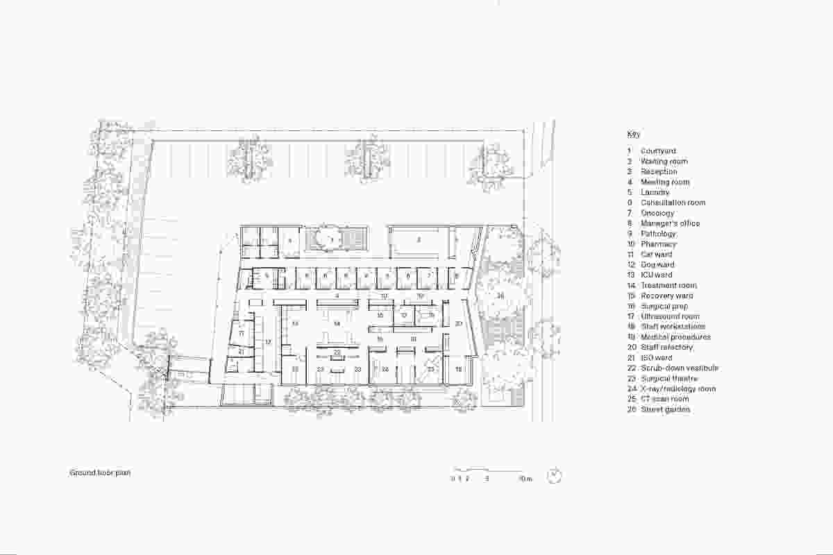 Plan of North Lakes Veterinary Hospital by Vokes and Peters.