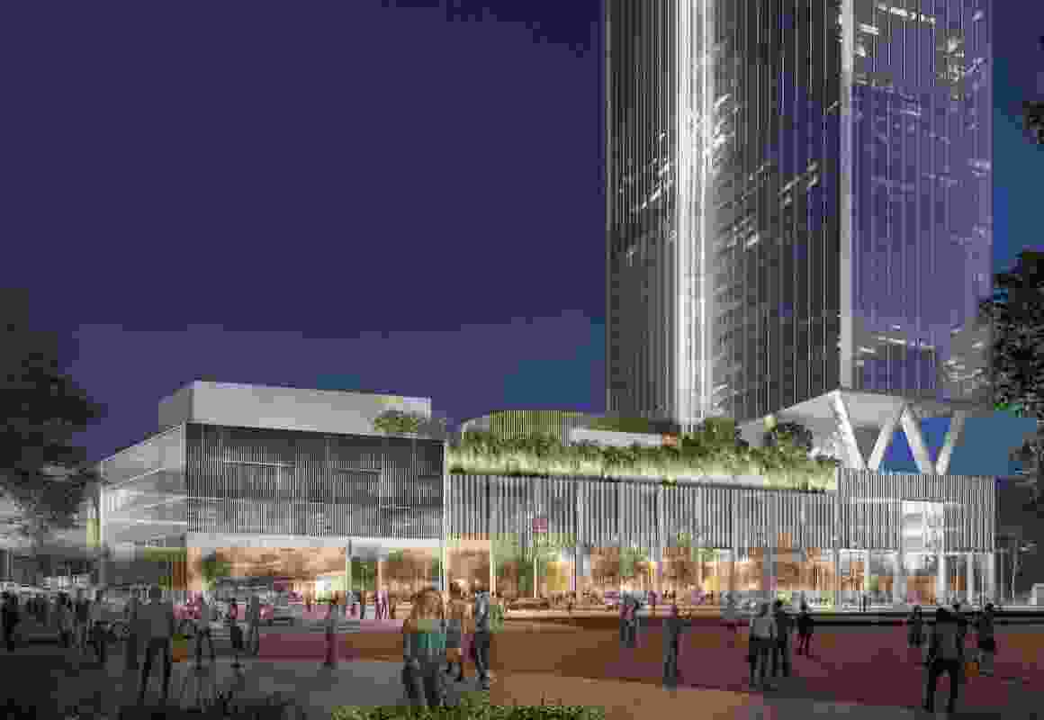 Indicative design for the Argyle Tower at Westfield Parramatta by Woods Bagot.
