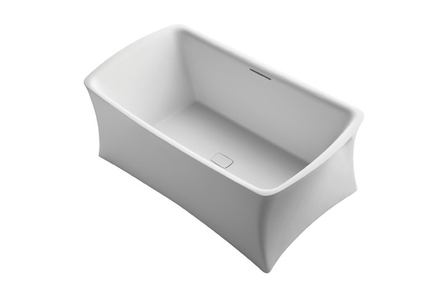 Aliento Lithocast Rectangular Freestanding Bath.