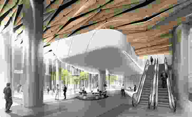 Foyer entrance of Wesley Place by Cox Architecture, under construction.