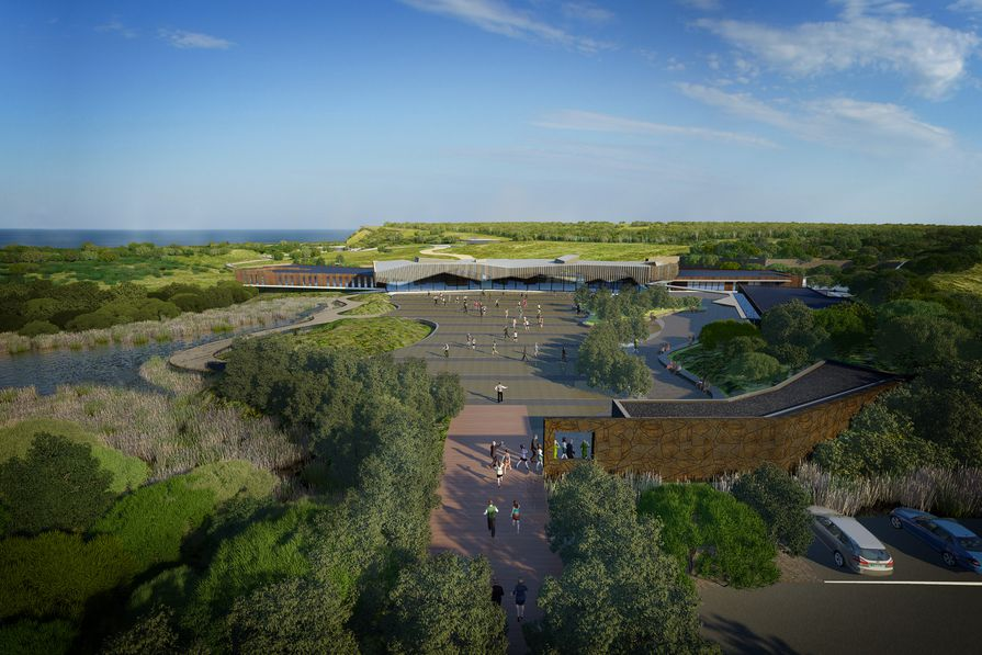 An aerial view of a concept proposal for the Penguin parade visitor centre designed by Peter Eliott Architecture and Urban Design, as seen in the Summerland Peninsula Infrastructure & Procurement Master Plan (2012) by Tract Consultants.