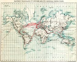 Chart of submarine telegraph cable routes by The Eastern Telegraph Co., showing the global reach of telecommunications in 1901.