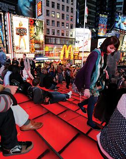 N°1 Both viewing platform and stage, the TKTS booth provides a moment of pause within the frenetic activity of Times Square.