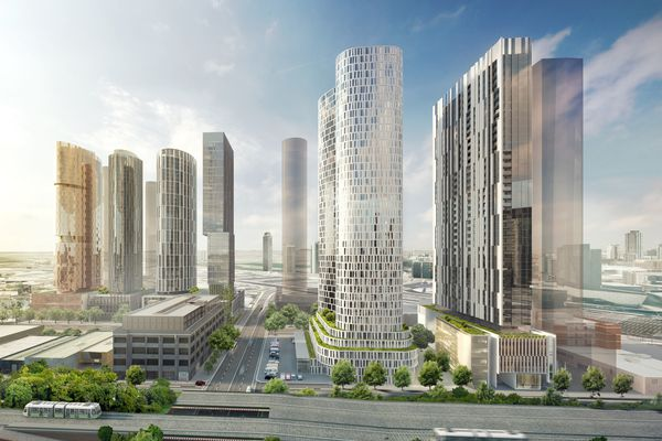 Hayball's six-tower integrated project for Fishermans Bend will house 1,578 apartments. Six separate landowners have come together to plan the cohesive site.