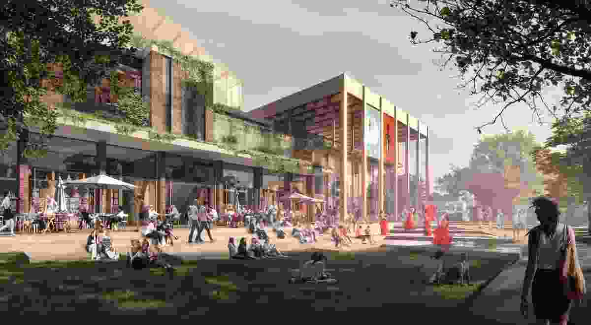 """The proposed refurbishment of the Sutherland Entertainment Centre by Chrofi and NBRS Architecture will create a """"verandah"""" and activate the southern edge of the Peace Park."""