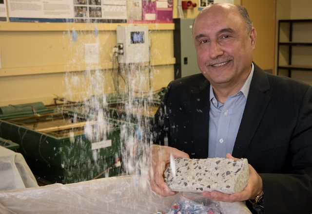 "Riyadh Al-Ameri of Deakin University with his medical waste-derived ""concrete."""